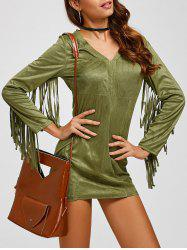 Suede Plunge Dress with Fringe
