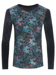 Grid and PU-Leather Spliced Flower Print Long Sleeve T-Shirt - BLACK 3XL