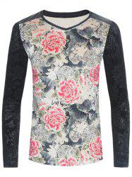 PU-Leather Spliced Velvet Flowers Print Long Sleeve T-Shirt