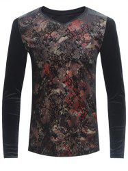Grid and PU-Leather Spliced Florals Print Long Sleeve T-Shirt