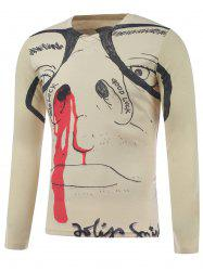 Plus Size Long Sleeve Figure Face Print T-Shirt - COLORMIX 5XL