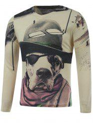 Plus Size Long Sleeve Dog in the Hat Print T-Shirt - COLORMIX 5XL