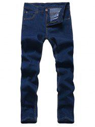Solid Color Zipper Fly Straight Leg Jeans For Men - BLUE
