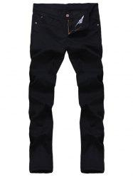 Solid Color Zipper Fly Straight Leg Jeans For Men - BLACK
