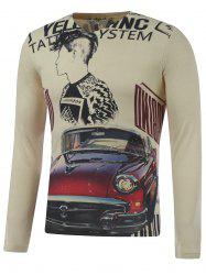 Plus Size Long Sleeve Figure and Car Print T-Shirt