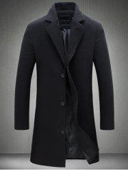 Plus Size Single Breasted Longline Woolen Coat - BLACK