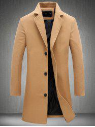 Plus Size Single Breasted Longline Woolen Coat - KHAKI