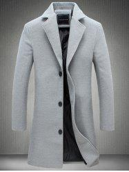Plus Size Single Breasted Longline Woolen Coat - GRAY
