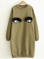 Drop Shoulder Cartoon Eye Mini Sweatshirt Dress -