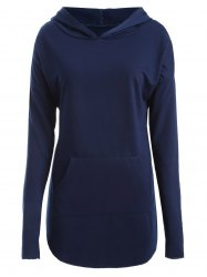 Plus Size Drop Shoulder with Pocket Hoodie - PURPLISH BLUE