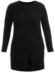 Asymmetric Pockets Long Sleeve Dress