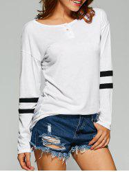 Striped Button Embellished T-Shirt -