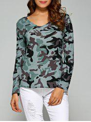 Army Camo Print Long Sleeve Slimming T-Shirt