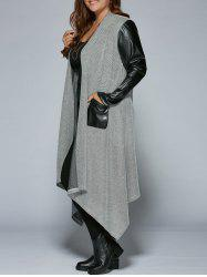 Plus Size PU Leather Trim Longline Asymmetrical Coat -