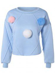 Pompon Embellished Flocking Sweatshirt -