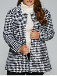 Warm Slim Houndstooth Coat - WHITE