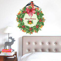 Christmas Wreath Removable Glass Window Wall Stickers - RED AND GREEN