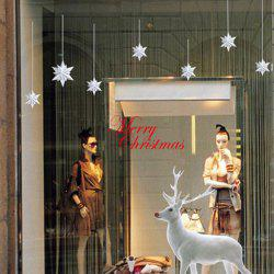 Christmas Elk Removable Glass Window Wall Stickers - WHITE