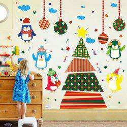 Colorful Penguins Christmas Removable Children's Room Wall Stickers