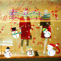 Christmas Music Snowmen Removable Glass Window Wall Stickers -