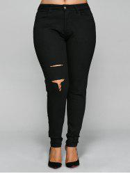 Skinny Plus Size Ripped Pencil Pants - BLACK 5XL