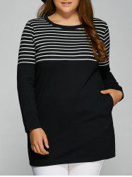 Striped Plus Size Tunic T-Shirt with Pocket -