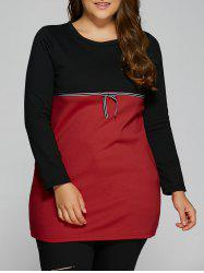 Plus Size Tunic Color Block Panel T-Shirt - RED 4XL