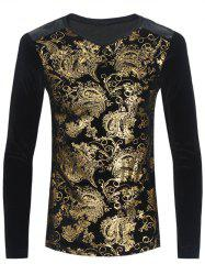 Ornate Foil Printed V Neck Pleuche T-Shirt - BLACK