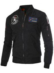 Patch Epaulet Zip Up Quilted Jacket -