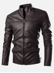 Stand Collar Zip Cuff Faux Leather Jacket
