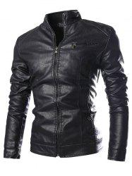 Stand Collar Zip Pocket Faux Leather Jacket - BLACK 3XL