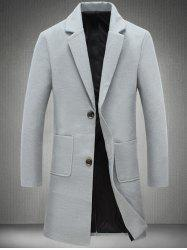 Notch Lapel Patch Pocket Back Vent Woolen Coat - LIGHT GRAY 5XL