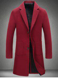 Notch Lapel Patch Pocket Back Vent Woolen Coat -
