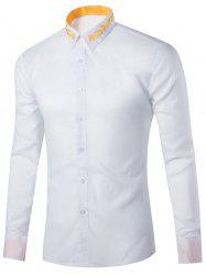 Long Sleeve Leaf Embroidered Shirt