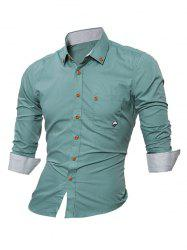 Embroidered Chest Pocket Button Down Shirt - LIGHT GREEN XL