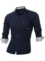 Embroidered Chest Pocket Button Down Shirt - CADETBLUE L