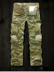 Drawstring Cuff Multi Pockets Camo Army Cargo Pants - ARMY GREEN