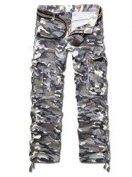 Camo Multi Pockets Zippered Cargo Pants -