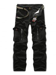 Multi Pockets Zippered Cargo Pants - BLACK