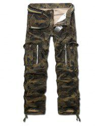 Drawstring Zippered Camo Army Cargo Pants -