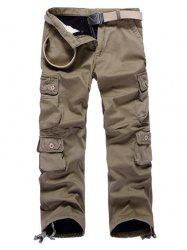 Multi Pockets Drawstring Cuff Flocking Cargo Pants -