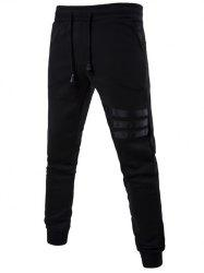 Mid Rise Drawstring Striped Jogger Pants - BLACK
