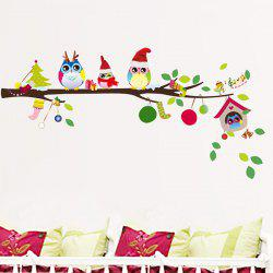 Merry Christmas Cartoon Owl Removable Kids Room Wall Stickers