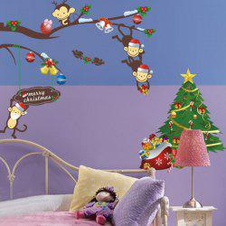 2PCS Christmas Tree Monkey Removable Animal Nursery Wall Stickers