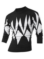 Ribbed Geometric Pattern Crew Neck Sweater - BLACK 2XL