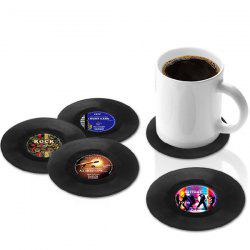 4 Pcs/ Set Retro CD Record Shapes Cup Mat - BLACK