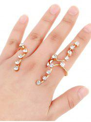 Personalized Rhinestone Multi Finger Gold Plated Ring - GOLDEN