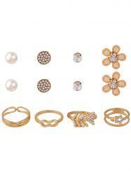 8PCS Rhinestone Earrings and Rings - GOLDEN