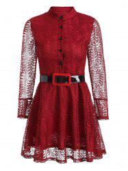 Long Sleeve Skater Lace Dress - WINE RED 2XL