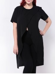 High Slit Surplice Asymmetric T-Shirt